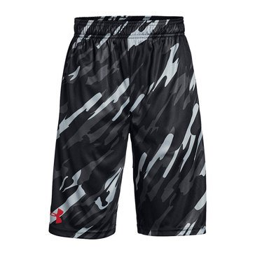 Under Armour Boys' Stunt Printed Shorts, Black/Red