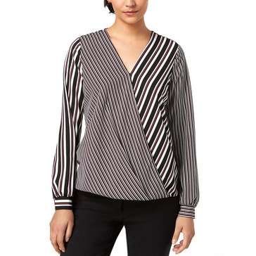 Alfani Women's Mixed Stripe Surplice Blouse