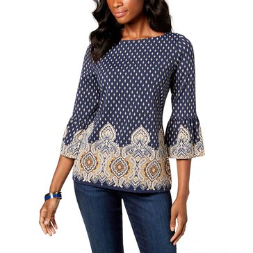Charter Club Women's Printed Top with Ruffle Hemmed Sleeve