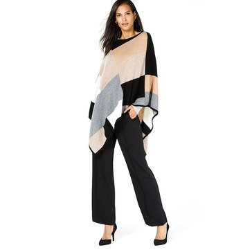 Charter Club Women's Cashmere Colorblock Poncho