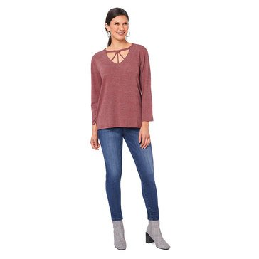 Democracy Women's Knit 3/4 Sleeve Trapeze Hi Lo Hemmed Top