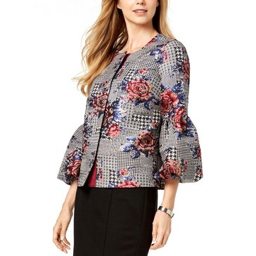 Alfani Women's Floral Menswear Plaid Puff Sleeve Jacket