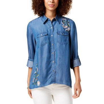 Style & Co Women's Embroidered Floral Denim Shirt