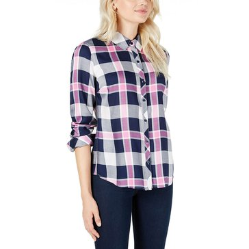 Maison Jules Women's Rayon Twill Plaid Shirt extended sizes