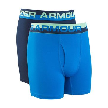 Under Armour Boys' 2-Pack Solid Performance Boxers, Academy/Blue Circuit