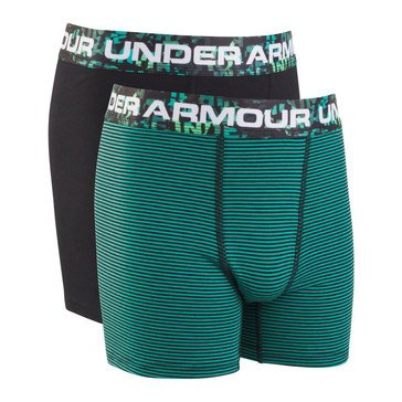 Under Armour Boys' 2-Pack Solid Cotton Boxer Set, Green Malachite