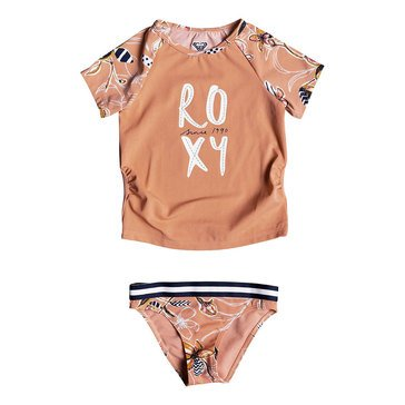 Roxy Little Girls' Let's Be Short Sleeve Lycra Swim Set