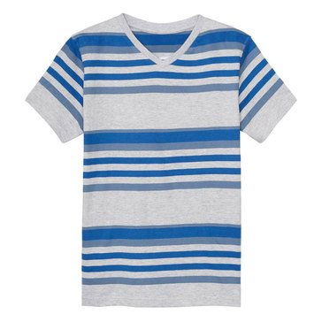 Eight Bells Toddler Boys' V-Neck Stripe Tee, Grey