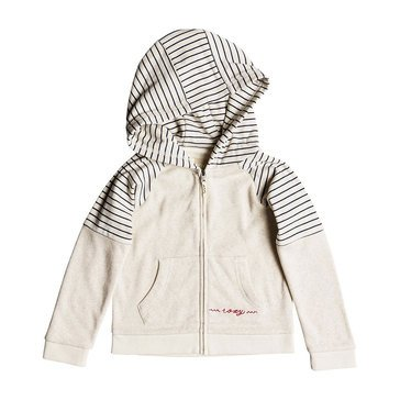 Roxy Little Girls' Sky and Sand Simple Stripe Zip Up Hoodie