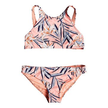 Roxy Big Girls' Born In Waves Crop Top Swim Set