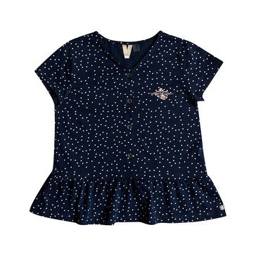 Roxy Big Girls' Smell In The Air Printed Peplum Short Sleeve Top
