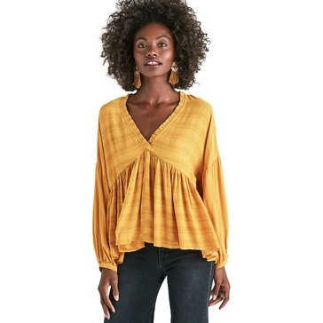 Lucky Brand Women's Romantic Pleasant Ruffle Top