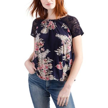 Lucky Brand Women's Short Sleeve Floral Top