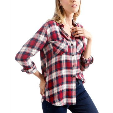 Lucky Brand Women's Boyfriend Plaid Woven Shirt
