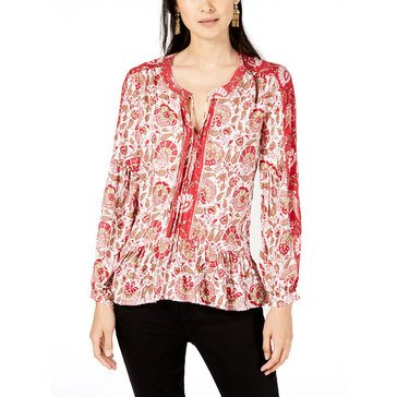 Lucky Brand Women's Sheer Medallion Printed Peasant Puff Sleeve Top