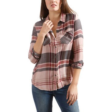 Lucky Brand Womens Plaid Boyfriend Shirt