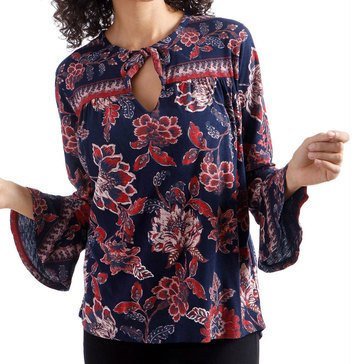 Lucky Brand Womens Floral Knit Top With Border