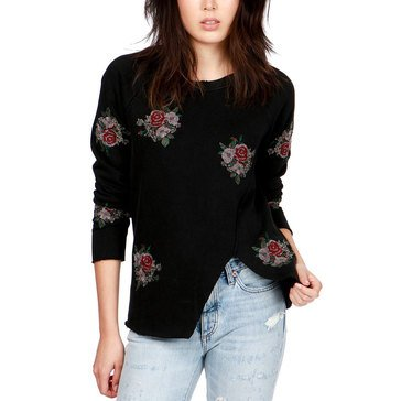 Lucky Brand Women's Sweatshirt With Floral Embroidery