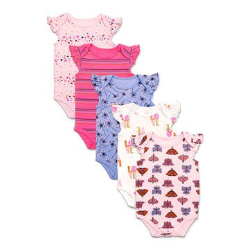 Rosie Pope Baby Girls' Bodysuits, 5-Pack