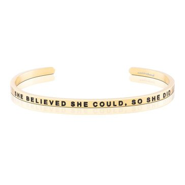 Mantraband She Believed She Could So She Did Bracelet, Gold