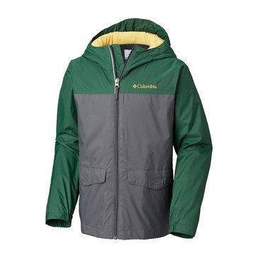 Columbia Big Boys' Rainzilla Jacket with Fleece Lining, Grey/ Forest Green