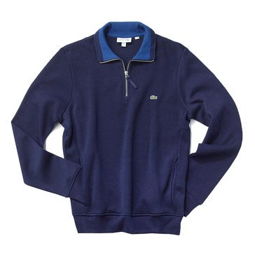 Lacoste Mens Sweater Quarter Zip Dark Blue