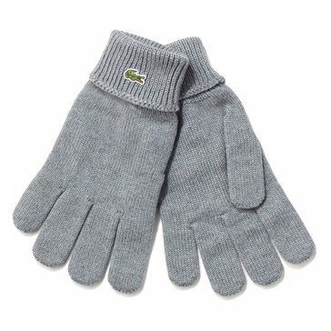 Lacoste Men's Jersey Ribbed Wool Gloves in Black