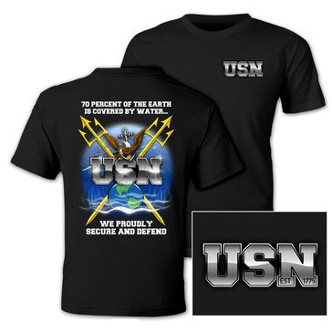 NavalTees Men's USN Secure And Defend Short Sleeve Tee