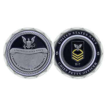 Challenge Coin USN E7 CPO Rank Engravable Coin
