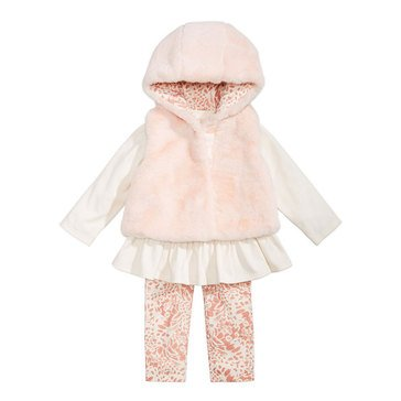 First Impressions Baby Girls' Fur Vest Set