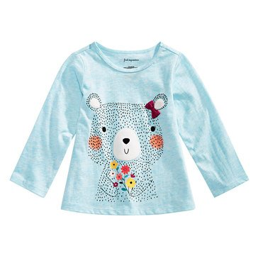 First Impressions Baby Girls' Floral Bear Tee