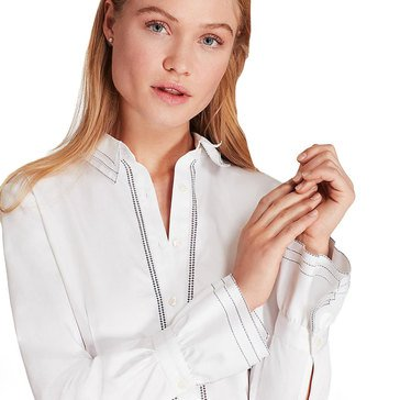 Brooks Brothers Womens Ruffle Cuff Cotton Sateen Top