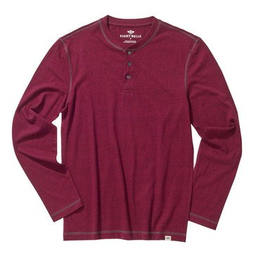 Eight Bells Mens Long Sleeve Henley Black fill Contrast Stitch Heathered Marshmellow