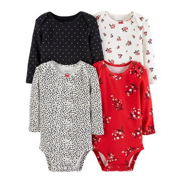 Carter's Baby Girls' Long Sleeve Bodysuits, 4-Pack