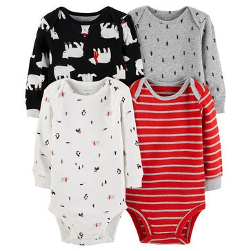 Carter's Baby Boys' Long Sleeve Bodysuits, 4-Pack