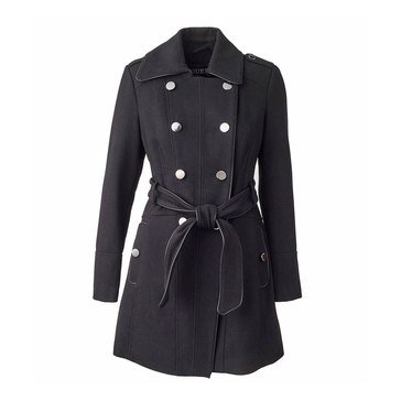 Guess Women's Wool Piped Trim Textured Coat