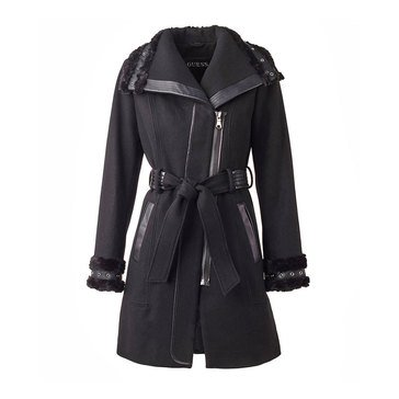 Guess Women's Wool Textured Twill Coat