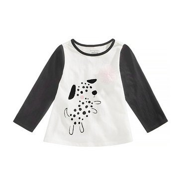 First Impressions Baby Girls' Spotted Dog Tee