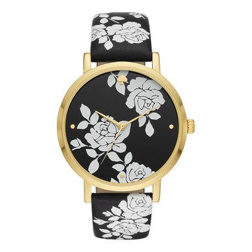Kate Spade Women's Metro Gold Black Flower Watch, 38mm