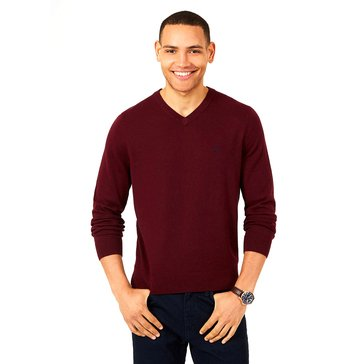 Nautica Men's Long Sleeve Sweater Heather V-Neck Charcoal