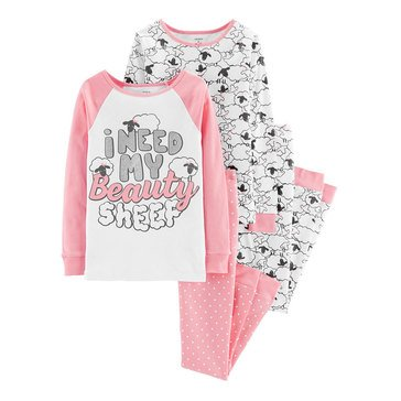 Carter's Little Girls' 4-Piece Cotton Beauty Sheep Pajama Set