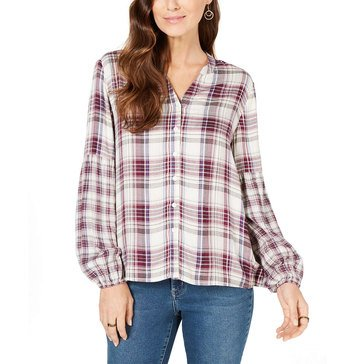 Style & Co Women's Plaid Button Front Shirt