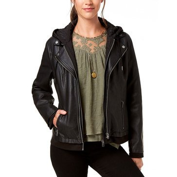 Style & Co Women's Pleather Moto With Detached Knit Hood