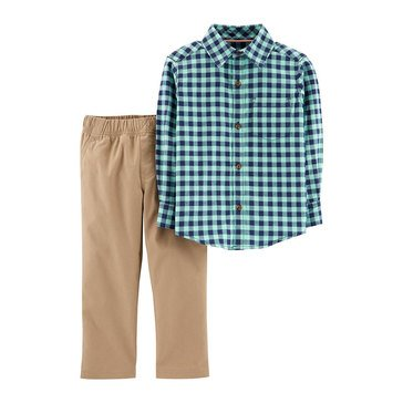 Carter's Baby Boys' 2-Piece Plaid Khaki Pant Set