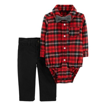 Carter's Baby Boys' Holiday 2-Piece Bodysuit Plaid Bowtie Set