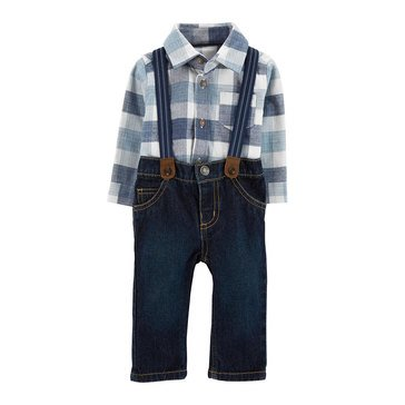 Carter's Baby Boys' Holiday 3-Piece Bodysuit Plaid Suspender Set