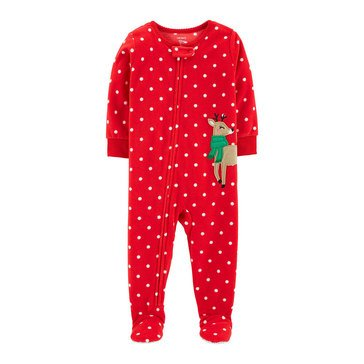 Carter's Baby Girls' 1-Piece Fleece Reindeer Holiday Pajamas