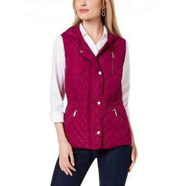 Charter Club Women's Quilted Snap Front Vest With Hood