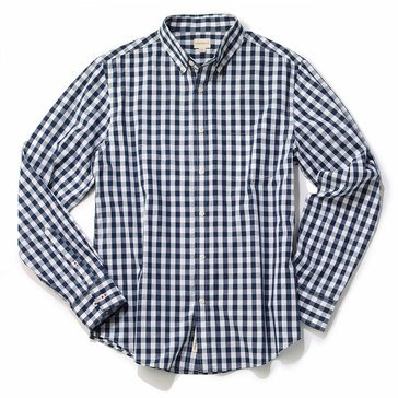 Eight Bells Men's Long Sleeve Slim Fit Large Gingham Sport Shirt