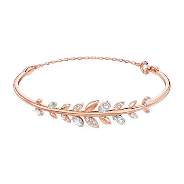 Swarovski Mayfly Leaf Crystal and Cubic Zirconia Clasp Bangle, Rosegold Plated